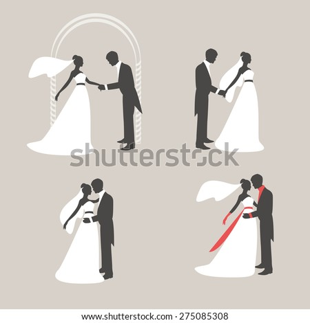 Retro silhouettes of the bride and bridegroom. The groom holds the hand of the bride. Bride and groom embracing and kissing. Vector #275085308