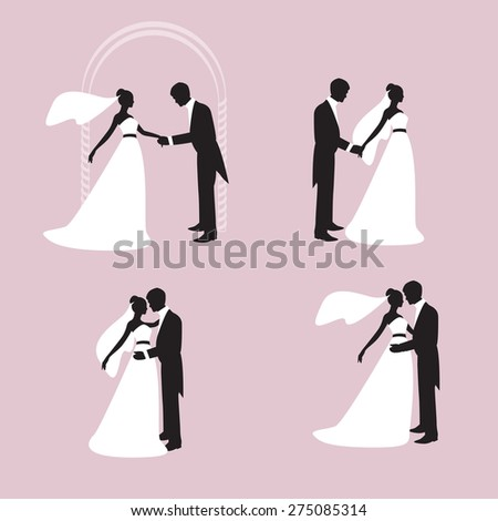 Silhouettes of the bride and bridegroom. The groom holds the hand of the bride. Bride and groom embracing and kissing. Vector #275085314