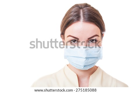 Dentist assistant or doctor nurse isolated on white background with copy sspace #275185088