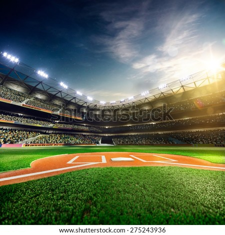Professional baseball grand arena in the sunlight Royalty-Free Stock Photo #275243936