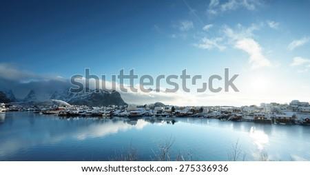 snow in Reine Village, Lofoten Islands, Norway #275336936