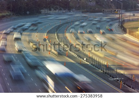 Rush hour traffic on the Hollywood Freeway in Los Angeles, CA
