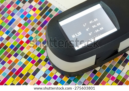 Print Spectrophotometer color measurement. Press offset color management lab values.  #275603801