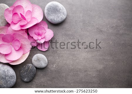 Close up view of spa theme objects on grey background. Royalty-Free Stock Photo #275623250