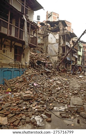 KATHMANDU, NEPAL - APRIL 29, 2015: Durbar Square which was severly damaged after the major earthquake on 25 April 2015. #275716799