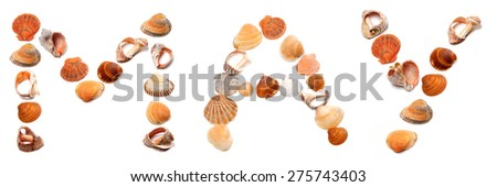 M A Y text composed of seashells. Isolated on white background. #275743403