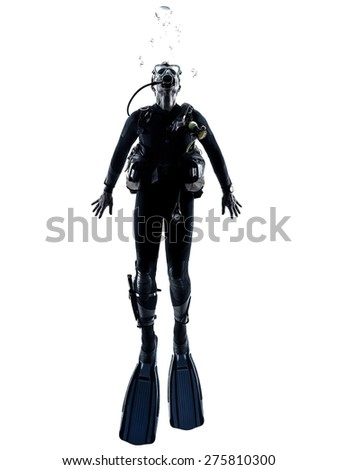 one caucasian scuba diver diving man  in studio  silhouette isolated on white background Royalty-Free Stock Photo #275810300