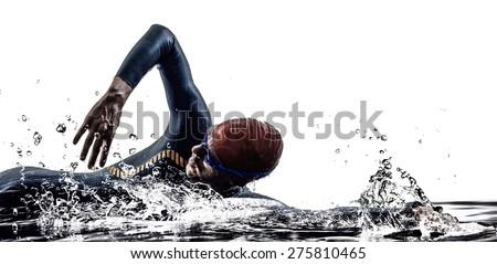 man triathlon iron man athlete swimmers swimming in silhouette on white background