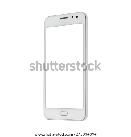 Modern white touchscreen android cellphone tablet smartphone isolated on light background. Empty screen #275834894