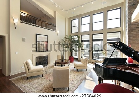 Living room with large picture windows