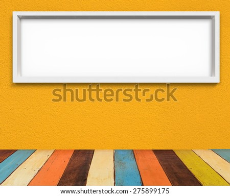 white panorama frame on the wall with retro painted wooden floor