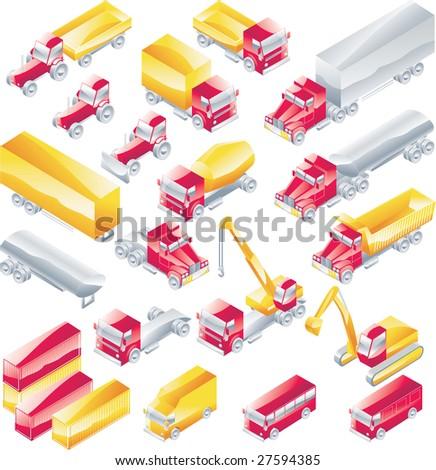 Raster version trucks icon set #27594385