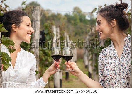 Two Beautiful Young Women Toasting With Wine In Vineyard #275950538