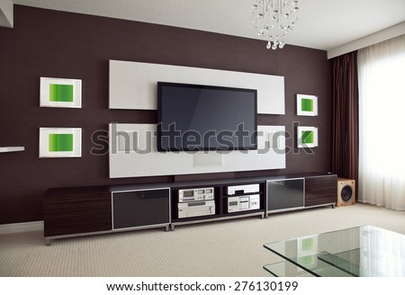 Modern Home Theater Room Interior with Flat Screen TV angled perspective view, modern contemporary apartment with TV #276130199