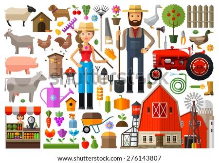 farm, farmhouse, farmyard vector logo design template. harvest, gardening, horticulture or animals, food icon. #276143807