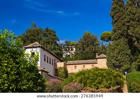 Alhambra palace at Granada Spain - architecture and nature background #276385949