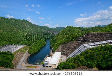 Electricity from hydropower plants, dams Srinakarin.Beautiful natural surroundings #276508196