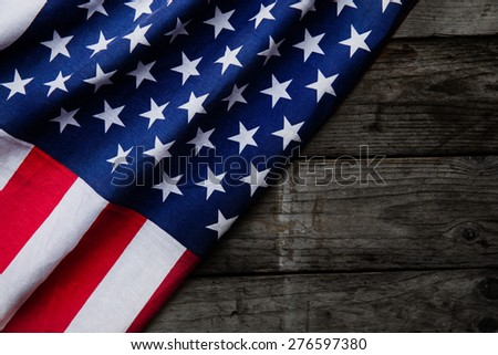 Closeup of American flag on wood background #276597380
