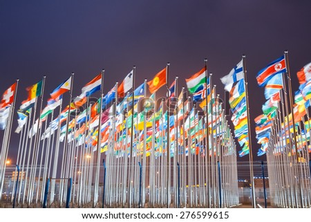 national flags of countries all over the world at night