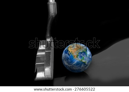 putter and ball , golf club,  world business and economic network games background, vision of business leader, including elements furnished by NASA #276605522
