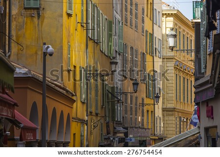 Nice, France, on March 11, 2015. The narrow street in the old city #276754454