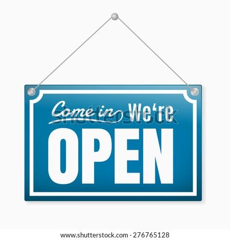 Retro open sign, blue color #276765128