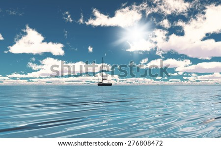 3D render of a yacht on the ocean #276808472