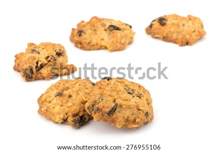 Fresh home made cookies with rasins isolated on white background #276955106