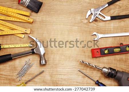 Assorted work tools on wood. Copy space #277042739