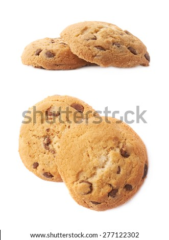 Round cookie with chocolate isolated over the white background, set of two different foreshortenings #277122302