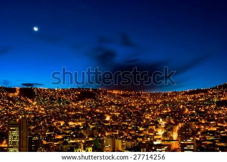 Panorama of night La Paz, Bolivia #27714256