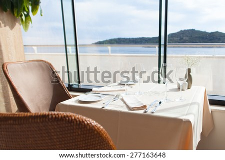 empty restaurant interior with sea view #277163648