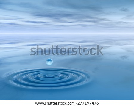 Concept or conceptual blue liquid drop falling in water with ripples and waves background  metaphor to nature, natural, summer, spa, drink, cool, business, environment, rain or health design #277197476