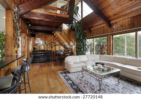 Wood paneled family room #27720148