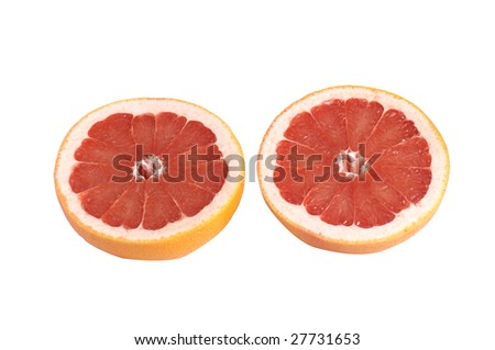 Juicy,tasty pieces of grapefruit isolated on a white background. #27731653