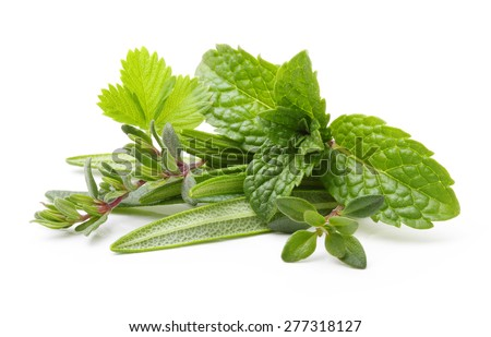 Fresh spices and herbs isolated on white background Royalty-Free Stock Photo #277318127
