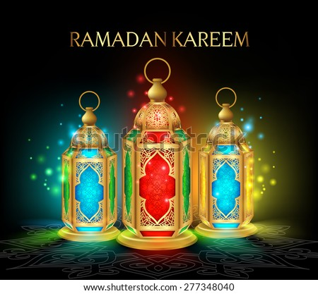 Beautiful Elegant Ramadan Kareem Lantern or Fanous in Gold With Colorful Lights in Night Background for the Holy Month Occasion of fasting. Editable Vector Illustration #277348040