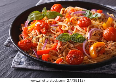 Italian food: pasta with minced meat and vegetables close-up. horizontal  #277381127