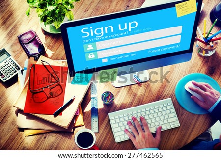 Sign Up Username Password Log In Protection Concept