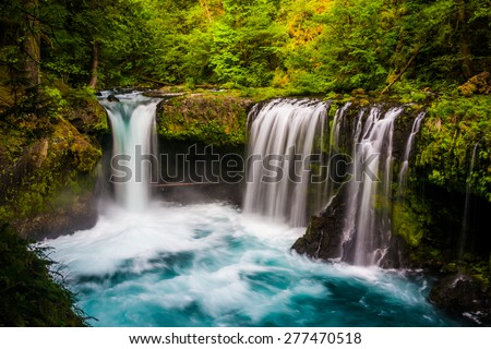 View of Spirit Falls on the Little White Salmon River in the Columbia River Gorge, Washington. #277470518