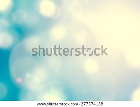 Blur sky background with nature glowing sun light flare and bokeh in cyan green blue color  #277574138