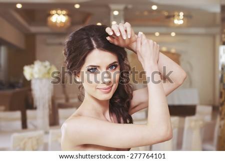Wedding emotional portrait of happy brunette bride.  #277764101