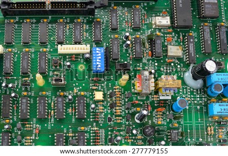 Closeup of electronic circuit board with processor #277779155