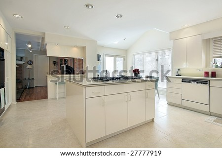White kitchen with island #27777919