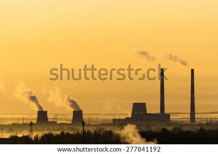 Sunrise power station fog sun sky horizon #277841192