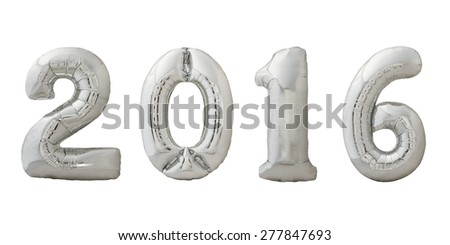 Numbers 2016 made of inflatable metallic silver air balloons isolated on white background. Christmas balloons.
