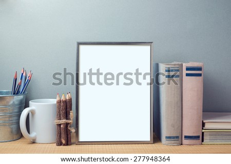 Poster mock up template with books and desk objects