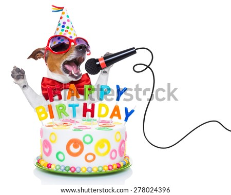 jack russell dog  as a surprise, singing birthday song  like karaoke with microphone ,behind funny cake,  wearing  red tie and party hat  , isolated on white background