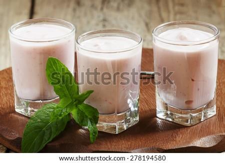 Fresh homemade yogurt berries in glasses, selective focus #278194580