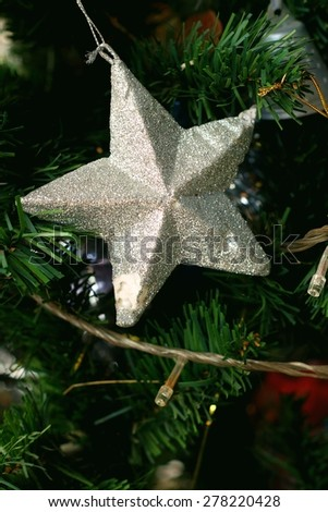 A silver star on the Christmas tree. #278220428